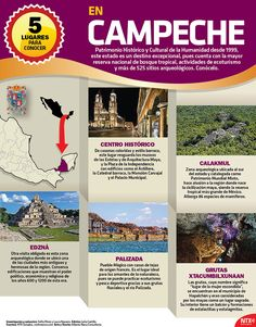 En la #InfografíaNTX te mostramos 5 lugares para conocer en Campeche, Patrimonio Histórico y Cultural de la Humanidad desde 1999. Mexico Tourism, Mexico Travel, Cultura General Mexico, Cool Places To Visit, Places To Go, Travel Around The World, Around The Worlds, Western Caribbean, Mexican Artists