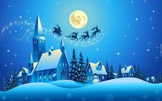 Zaprzęg, Mikołaja, Zima, Bałwan, Miasteczko, Księżyc, Drzewa, Noc, Gwiazdy, 2D