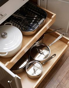 pull out drawers in the cupboards near the range for pots and pans. ALSO, pull out drawers in the pantry for mixing bowls and baking supplies