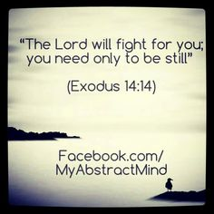 """The #battle isn't yours. This is why you keep fighting and fighting and feel like you're getting nowhere. #Give in and give it to the LORD, he'll know what to do and how to handle your every #situation and #circumstance.   """"The #Lord will #fight for you; you #need only to #BeStill""""  #Exodus 14:14  #Bible #Scripture #TheWord #Help #Peace #Love #Hope #Inspiration #KeepGoing"""