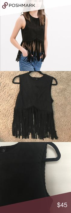 Zara black genuine suede fringe top sz S Coachella Ripped off tags but never wore. Snap back closure and whipstitch details on side. Zara Tops Blouses