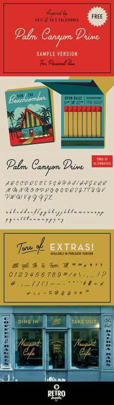 [FREE] Palm Canyon Drive is inspired by mid-century Southern California. Particularly, the signage you would see in the Palm Canyon in Orange County. Grab the commercial version for three weights and tons of bonus glyphs.