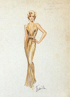 """The dress designed for her by William Travilla, the same she wore  in """"Gentlemen Prefer Blondes"""". She was the focal point when she arrived, dressed in this dress """"which seemed to have  been painted on her!"""""""