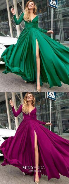 Hunter Prom Dresses Long,Vintage A-line Prom Dresses with Sleeves,Sexy V-neck Prom Dresses with Slit,Satin Chiffon Prom Dresses Long Sleeves #promdressesvintage