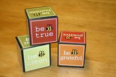 """Be"" blocks. Cute way to display classroom rules."