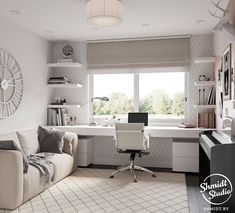 45 Fantastic Computer Gaming Room Decor Ideas and Design - Googodecor Guest Room Office, Home Office Space, Home Office Design, Home Office Decor, Bedroom Office Combo, Small Bedroom Office, Small Space Office, Small Home Offices, Desk Layout