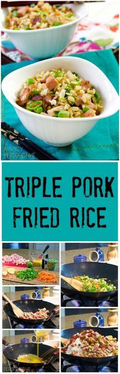 Triple Pork Fried Rice Recipe on ASpicyPerspective.com