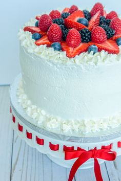 Full video tutorial. Create a showstopper dessert with 3 layers of soft butter cake and filled with fresh Chantilly whipped cream and berries. It is a dream to eat because it hits all the dessert spots: sweet cake, tart berries, and creamy frosting.
