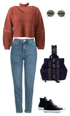 """""""90s inspired"""" by marta-isabella ❤ liked on Polyvore featuring WithChic, Topshop, Converse, Yves Saint Laurent and Jimmy Choo"""