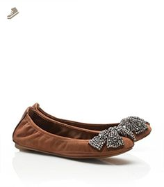 77eeb17a163 Tory Burch Women s Eddie Brown Leather Suede Ballet Flat with Bow Shoes  Size 5 M DISPLAY. TaconesZapatos ...