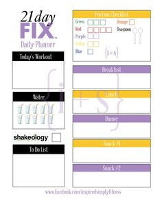 21 Day Fix Printable Meal Workout Planner 1200 by inspiredsimply