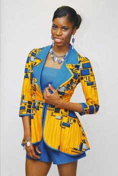 TeKay Designs. mustard and blue ~ African Style