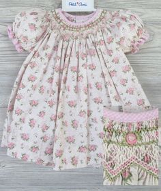 Checked Pattern Coral /& White Floral 12-18 /& 18-24 Months Baby Girl/'s Dress