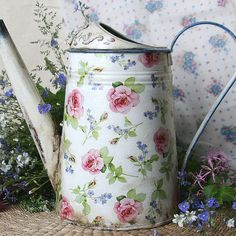 galvanized watering can, Watering can decoupage, Forger-me-not and Rose, Metal watering can in vintage style, Shabby chic,  flower vase