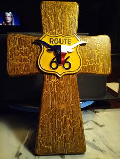Hand painted crackle cross with route 66