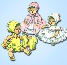 1960s Vintage Simplicity Sewing Pattern 3218 16 Inch Baby Doll Clothes Set