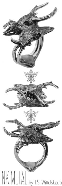 A postmodern take on ancient Scythian motifs, this ring employs the iridescent luster of heat-treated palladium and its versatility in holding fine detail to capture a darkly chic style.