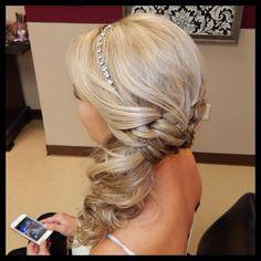 #updo #formalhair #braid #curls #blonde