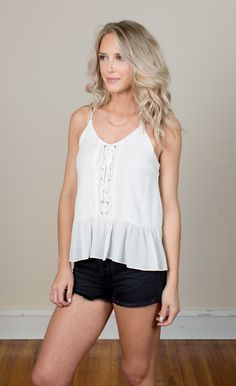 Sun Kissed Lace Up Tank Top - White