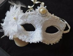 White and Silver Masquerade Bridal Mask by creatingwithni on Etsy