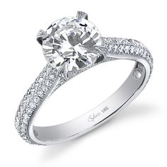 Round Brilliant Cut Micro Pave Diamond Ring SY459 Sylvie Engagement Ring Collection