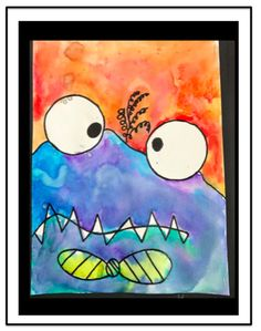 This is the easiest art lesson! I found this adorable monster art lesson here at Art Projects For Kids! This is the easiest art lesson! I found this adorable monster art lesson here at Art Projects For Kids! Halloween Art Projects, Fall Art Projects, Kindergarten Art Lessons, Art Lessons Elementary, Easy Art Lessons, First Grade Art, October Art, Ecole Art, Monster Art