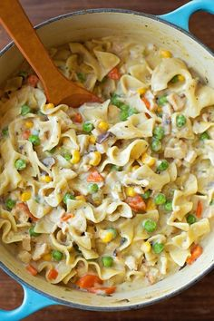 The comfort of chicken pot pie without all of the work! My one-pot creamy chicken pot pie noodles are creamy, flavorful and best of all, filling!