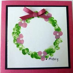 Handmade Mother's Day Cards for Kids: Pinky Wreath