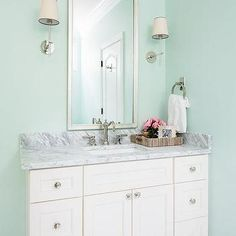 Silver Leaf Vanity Mirror with Ivory Washstand