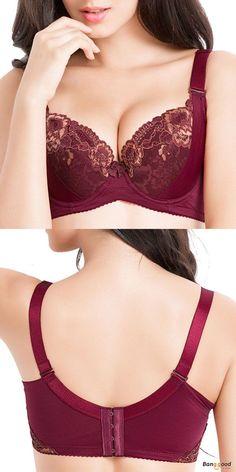ec64b58cb8c0c Plus Size Push Up Floral Lace Embroidery Bras Deep V · Cute UnderwearPretty  BrasBra ...