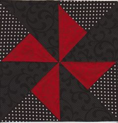 Pinwheel Quilt Bloc ... big squares ... luv the arrangement of black and red pieces ...