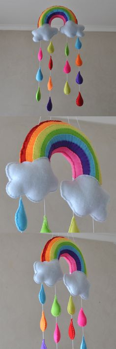 Somewhere over the rainbow mobile [Rainbow with raindrops - Baby mobile]