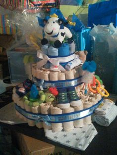 Diaper cake with baby goodies