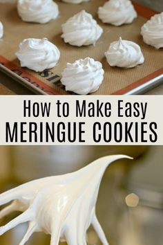 How to make easy meringue cookies! These are so easy to make with these step-by-step instructions. All you need is egg whites, cream of tartar, a pinch of salt and sugar. Egg White Dessert, White Desserts, Easy Desserts, Plated Desserts, Easy Meringue Cookies, Baked Meringue, French Meringue, Meringue Desserts, Meringue Kisses