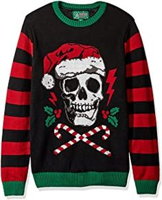 Ugly Christmas Sweater - Ideas that Win all the Ugly Sweater Contests Mens Ugly Christmas Sweater, Holiday Sweater, Skull Sweater, Men Sweater, Ugly Sweater Contest, Textiles, Sweater Outfits, Black Sweaters, Nice Dresses