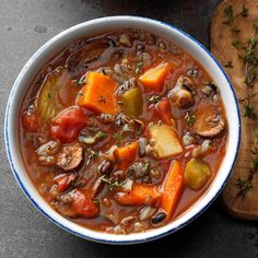 This thick and hearty soup is packed with colorful vegetables. —Thomas Faglon, Somerset, New JerseySlow-Cooked Vegetable Wild Rice Soup Recipe photo by Taste of cups reduced-sodium vegetable … Slow Cooker Recipes, Soup Recipes, Cooking Recipes, Rice Recipes, Crockpot Recipes, Recipies, Fast Recipes, Chili Recipes, Diabetic Recipes