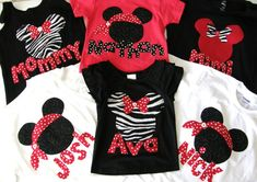Disney clothes for the family - t-shirt with Minnie or Mickey Mouse with personalized name applique in sizes 12 m - 16 adult XS - XXL (ETSY)