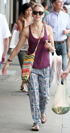 Naomi Watts shopping with printed pants, tank top, and Birkenstocks