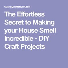 The Effortless Secret to Making your House Smell Incredible - DIY Craft Projects