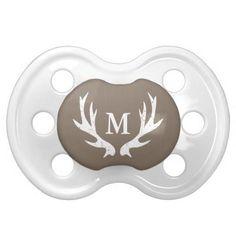 Vintage deer antler baby pacifier with monogram {15% OFF All Orders}
