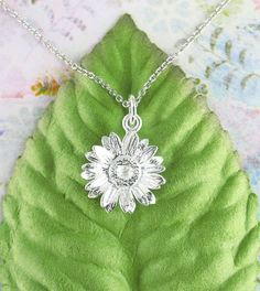 Daisy Necklace in Sterling Silver-Animals & Nature > Flower Necklaces-woot & hammy Fabric Flower Necklace, Daisy Necklace, Back Necklace, Blue Topaz Necklace, Flower Jewelry, Bridal Bangles, Wedding Bracelet, Wedding Jewelry, Sterling Silver Pendants