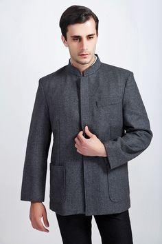 Free Shipping!Big Discount!Chinese Style  Wool  Men's Mandarin Collar Long Sleeve Kung-Fu Jacket Sun Yat Sen's Uniform MLJ0049