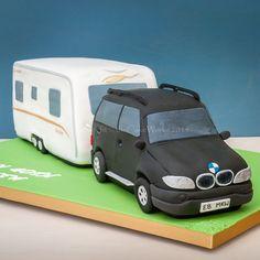 Cakes for men / BMW X5 towing a caravan cake!