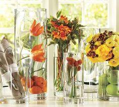 Accesorios decorativos, jarrones, flores