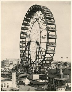 """Ferris Wheel, and Bird's Eye View of Midway."" Large photographic print from The White City (As It Was). Photographs by William Henry Jackson. World's Columbian Exposition. 1893"