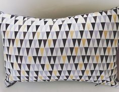 Handmade gold, black and lilac triangle geometric print home decor decorative pillow cushion created by Waffle and Weave by waffleandweave on Etsy