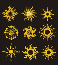 """The sun will come out....tomorrow"" Here are some yellow sun designs"