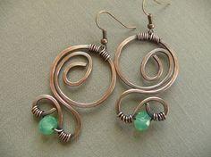 Wire Wrapped Jewelry Earrings  Earrings Green by fancyyoudesigns