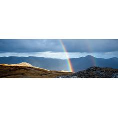 """East Urban Home Double Rainbow Photographic Print on Wrapped Canvas Size: 20"""" H x 60"""" W x 0.75"""" D"""