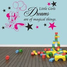 Minnie Mouse Bedroom Decor | Minnie mouse little girls magical dreams bedroom  wall art decoration .